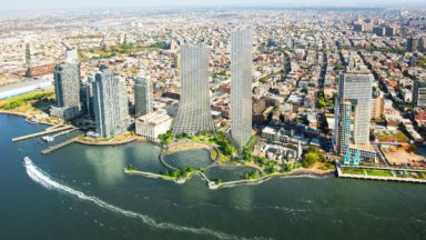 Rendering of two high rises at River Ring