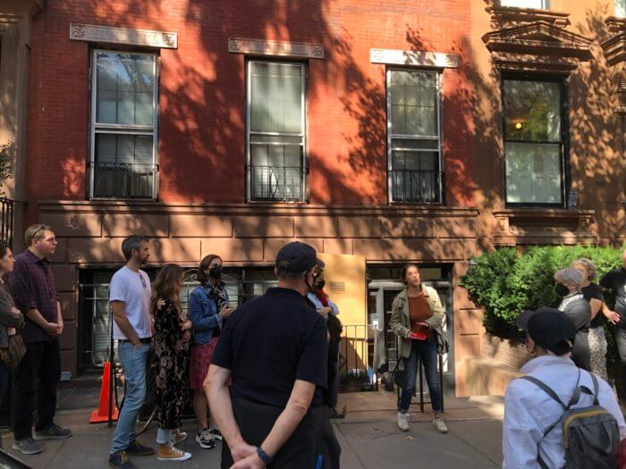Lucie Levin leads a walking tour in Brooklyn Heights